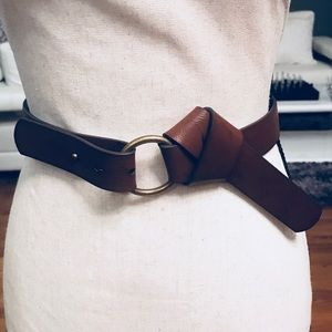 Style & Co Brown Leather Knot Ring Belt